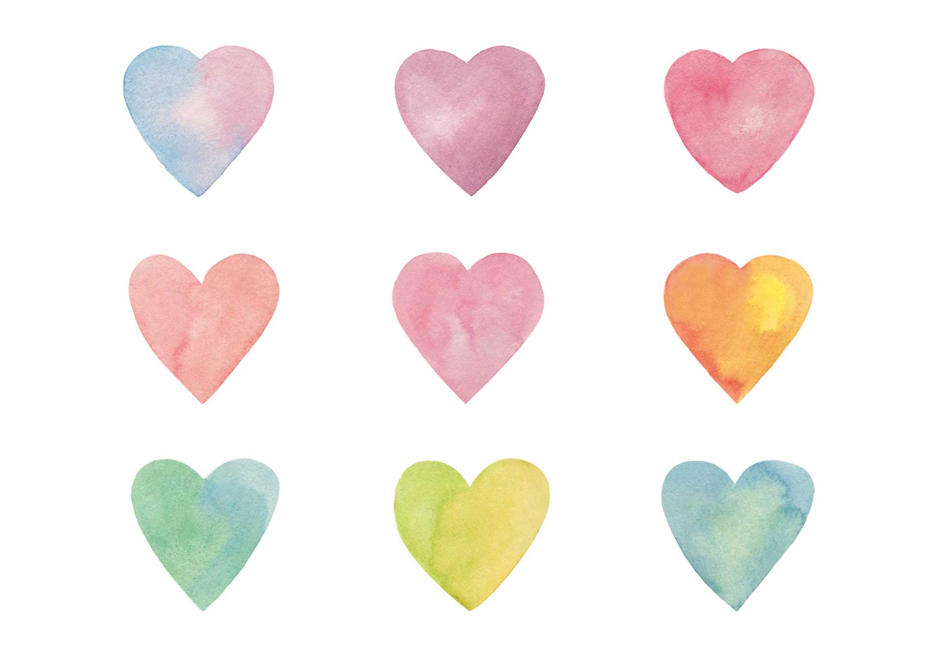 pastel watercoloured hearts